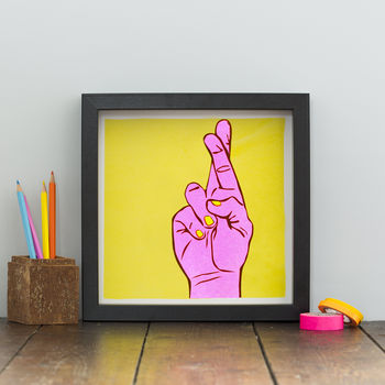 Fingers Crossed Neon Print
