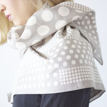 Polka Light Grey - Light Weight Cotton Scarf