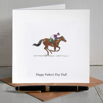 Race Horse Illustrated Personalised Father's Day Card