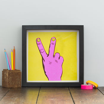 Two Fingered Salute Neon Print