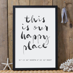 Personalised 'Our Happy Place' Coordinates Print - gifts for the home