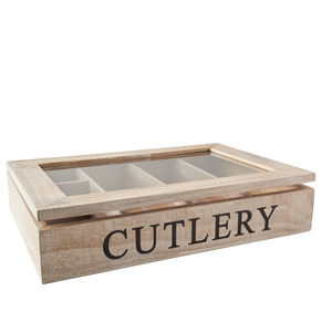 Natural Wood Cutlery Box