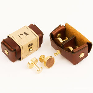 Brushed Brass And Walnut Cufflinks