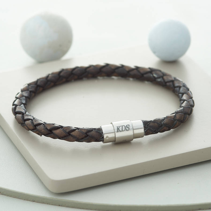 s personalised clasp plaited leather bracelet by