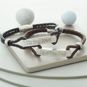 Men's Personalised Plaited Leather ID Bracelet - gifts for him