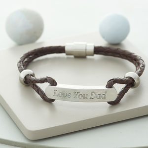 Men's Personalised Plaited Leather ID Bracelet - jewellery for men