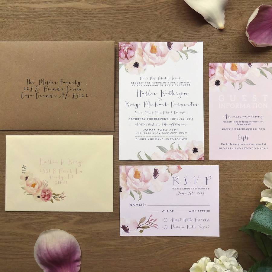Full Set Printed Mailing Envelope Main Invite Guest Information Card Rsvp