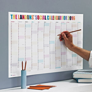 Personalised Social Calendar - gifts for teenagers