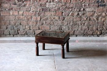 Asha 'Antique' Glass Top Coffee Table