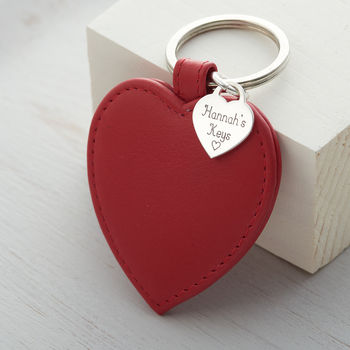 Personalised Sterling Silver Heart And Leather Keyring