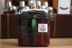 Sale £20 Off! Harris Tweed Hip Flask - wines, beers & spirits