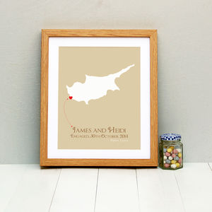 Engaged In Cyprus Personalised Print