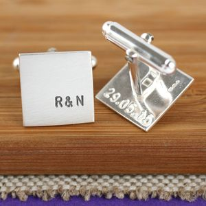 Personalised Silver Square Cufflinks - jewellery & cufflinks
