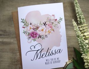 Watercolour Silhouette Bridesmaid Card - bridesmaid cards