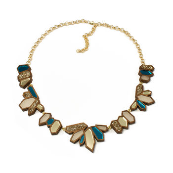 Cluster Collar Necklace - Teal