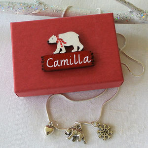 Personalised Christmas Polar Bear Necklace
