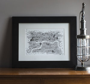 Literary Central London Map Art Print - map inspired art