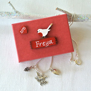 Personalised Christmas Robin Necklace - children's jewellery