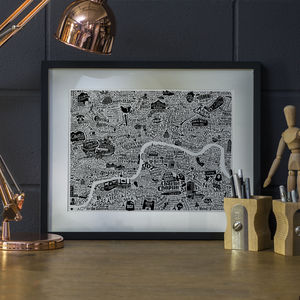 Typographic London Film Map Print - maps & locations