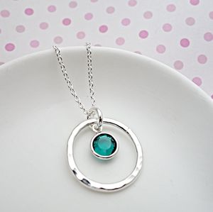 Emerald Crystal Circle Necklace - birthstone jewellery gifts