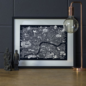 Typographic Central London Film Map - maps & locations