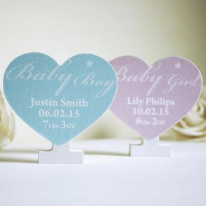 Personalised New Baby Keepsake Wooden Heart