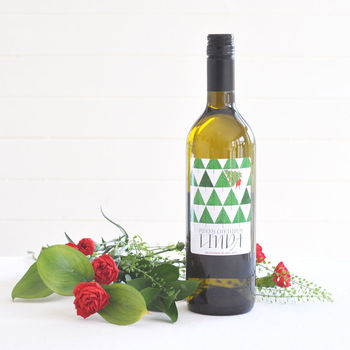 Geometric Christmas Personalised wine