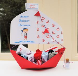 New Baby Booty Paper Boat Card Keepsake - clothing