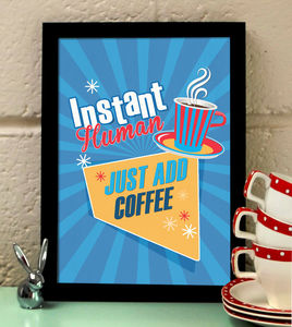 Vintage Style Coffee Quote Kitchen Print