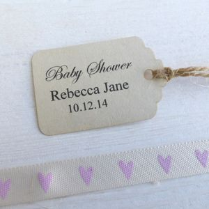 Personalised Baby Shower Tags - ribbon & wrap