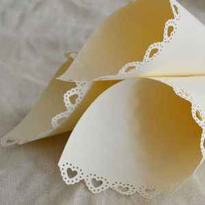 Cream Confetti Cones With Heart Edge - wedding favours
