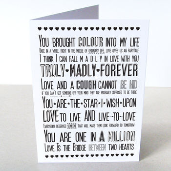 'Love Sayings' Card