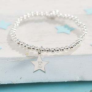 Girl's Personalised Sterling Silver Star Charm Bracelet - for children