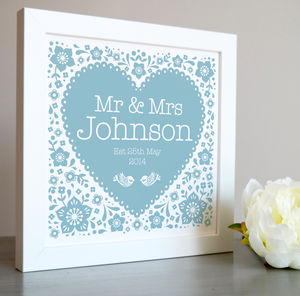 Framed Wedding Heart Personalised Print