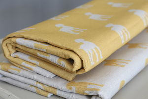 Mustard Paws Weimaraner Fabric - throws, blankets & fabric