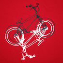 BMX t-shirt detail. Black and white print on a red tee