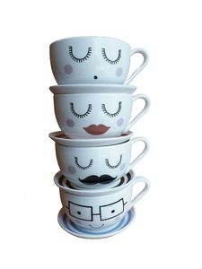 Large Character Tea Cup And Saucer - kitchen