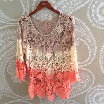 Crochet Top Cream Orange