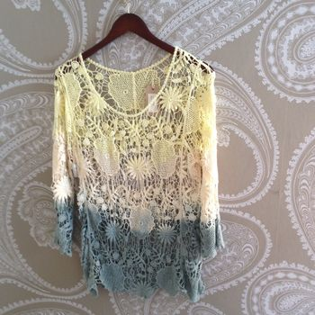 Crochet Top Yellow Blue