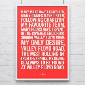 Charlton Athletic 'Valley Floyd' Football Song Print - posters & prints