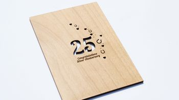 Silver 25th Anniversary Wooden Card