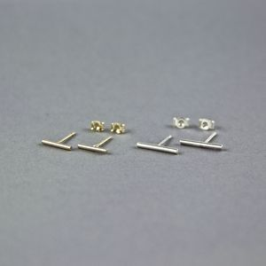 Contemporary Thin Line Bar Stud Earrings - earrings