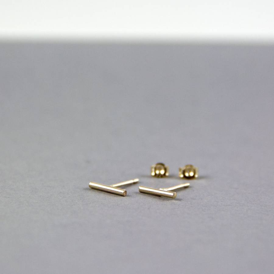 the line stud pin gold diamond earring studs oro vrai baguette