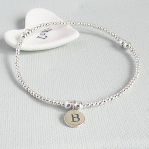 Personalised Silver Initial Beaded Bracelet