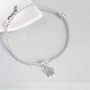 Lotus Flower Sterling Silver Beaded Bracelet