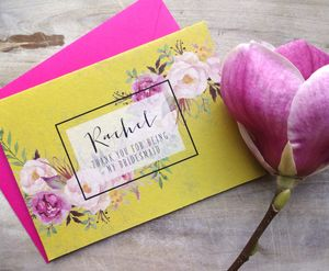 Watercolour Flower Bridesmaid Card - summer wedding