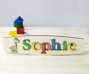 Personalised Name Puzzle With Giraffe - children's room accessories