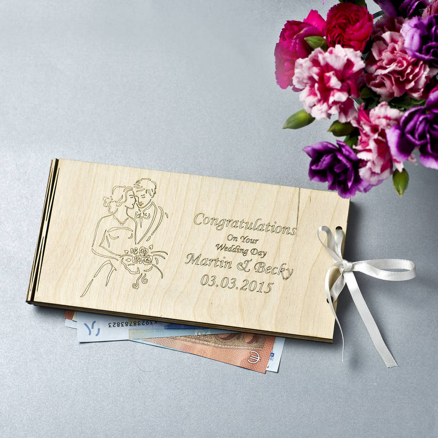 personalised wooden money wedding gift envelopes by natural gift