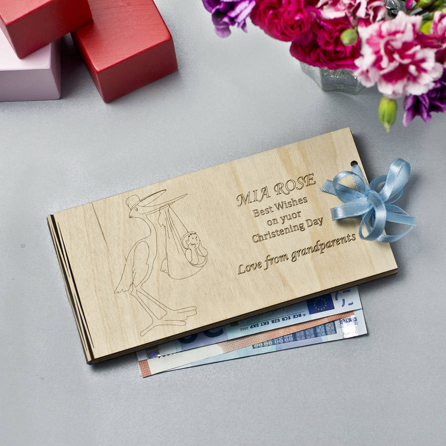 personalised wooden money christening gift envelopes by wooden toy ...