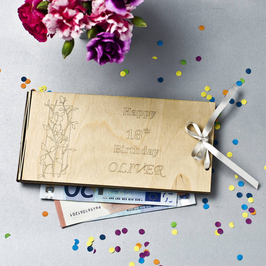 The Wedding Gift Shop: Personalised Wooden Money Envelope For Special Occasion By